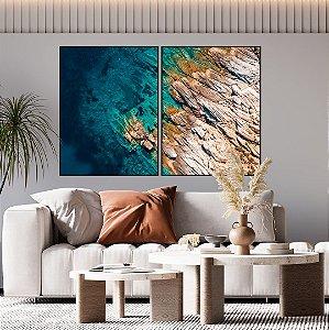 Conjunto com 02 quadros decorativos Mar