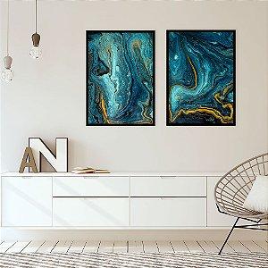 Conjunto com 02 quadros decorativos Abstrato Ouro