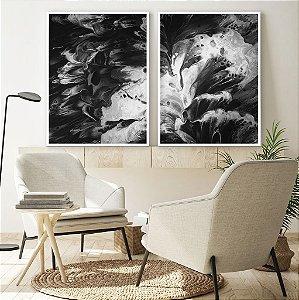 Conjunto com 02 quadros decorativos Abstrato P&B