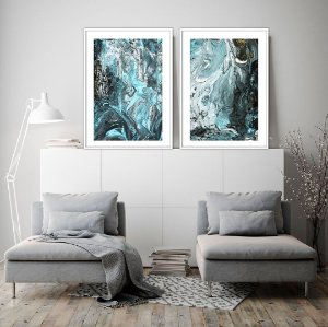 Conjunto com 02 quadros decorativos Blue Abstract