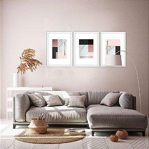 Conjunto com 03 quadros decorativos Geométric Rose Gold