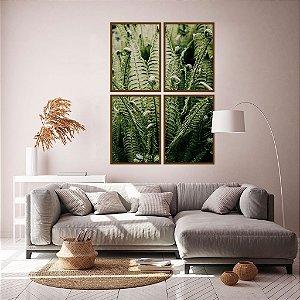 Conjunto com 04 quadros decorativos Floresta Verde