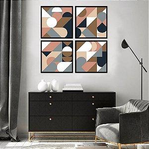 Conjunto com 04 quadros decorativos Geométrico Colors