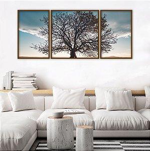 Conjunto com 03 quadros decorativos Árvore