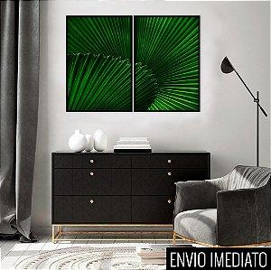 Conjunto com 02 quadros decorativos Tropical 40x60cm (LxA) Moldura Preta