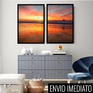 Conjunto com 02 quadros decorativos Amanhecer 50x70cm (LxA) Moldura Preta