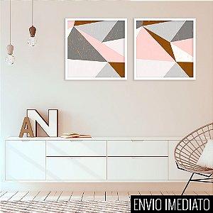 Conjunto com 02 quadros decorativos Geometric Gold 40x40cm (LxA) Moldura Branca