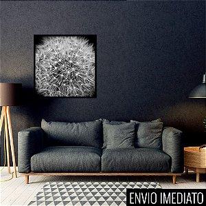 Quadro decorativo Dente-de-leão P&B 40x40cm (LxA) Moldura Preta