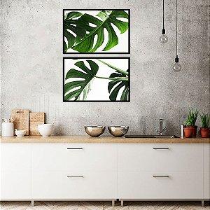 Conjunto com 02 quadros decorativos Plantas