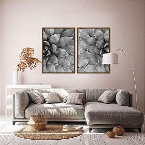 Conjunto com 02 quadros decorativos Botanical P&B