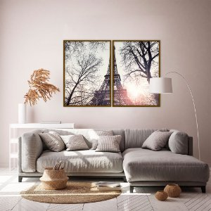 Conjunto com 02 quadros decorativos Paris