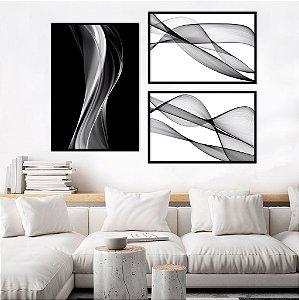 Conjunto com 03 quadros decorativos Abstrato Preto e Branco