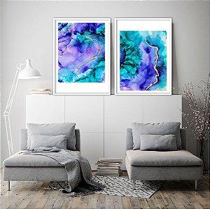 Conjunto com 02 quadros decorativos Abstract Colors