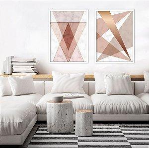 Conjunto com 02 quadros decorativos Rosê Geométrico