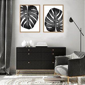 Conjunto com 02 quadros decorativos Costela-de-adão P&B