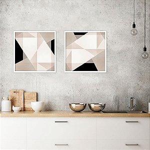 Conjunto com 02 quadros decorativos Geométrico Abstrato