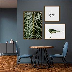 Conjunto com 03 quadros decorativos Leveza