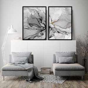 Conjunto com 02 quadros decorativos Abstrato Black