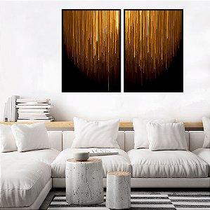 Conjunto com 02 quadros decorativos Gold