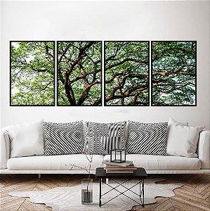 Conjunto com 04 quadros decorativos Árvore