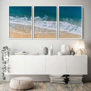 Conjunto com 03 quadros decorativos Mar