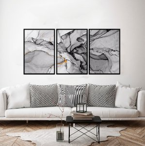 Conjunto com 03 quadros decorativos Abstrato Black