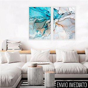 Conjunto com 02 quadros decorativos Abstrato Gold Duo 50x70cm (LxA) Moldura Preta