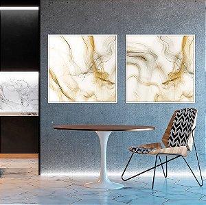 Conjunto com 02 quadros decorativos Ouro Abstrato