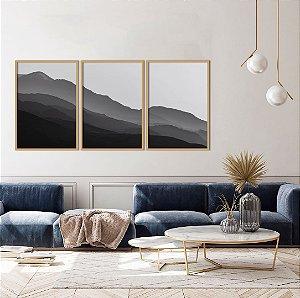 Conjunto com 03 quadros decorativos Montanhas