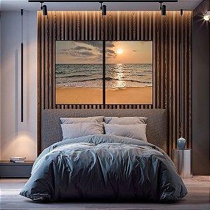 Conjunto com 02 quadros decorativos Praia