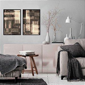 Conjunto com 02 quadros decorativos Textura Abstrata