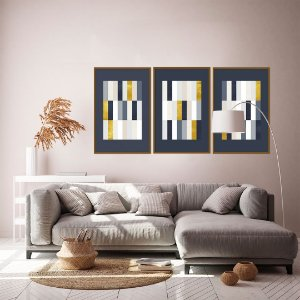 Conjunto com 03 quadros decorativos Geometric Blue