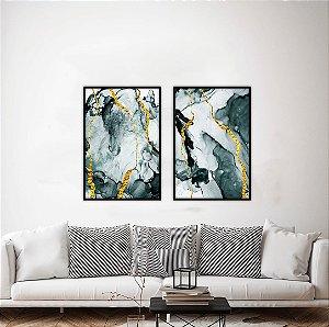 Conjunto com 02 quadros decorativos Dourado Abstrato