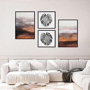 Conjunto com 04 quadros decorativos Botânica Abstrata