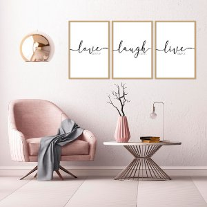 Conjunto com 03 quadros decorativos Love - Laugh - Live