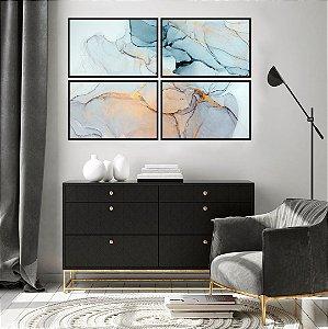 Conjunto com 04 quadros Decorativos Abstrato Gold