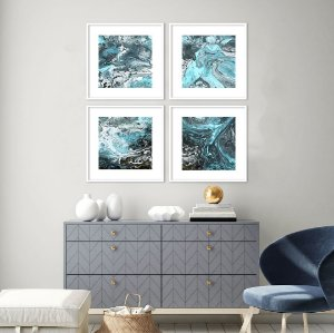 Conjunto com 04 quadros decorativos Blue Abstract