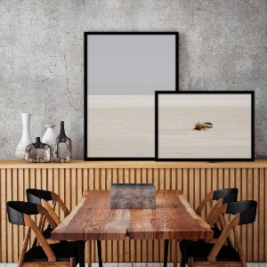 Conjunto com 02 quadros decorativos sobreposição Barco