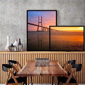 Conjunto com 02 quadros decorativos sobreposição Ponte