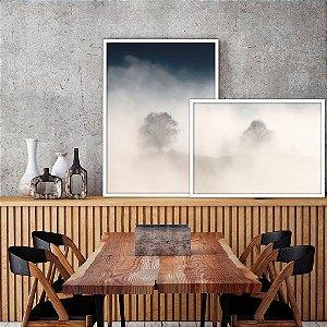 Conjunto com 02 quadros decorativos sobreposição Manhã