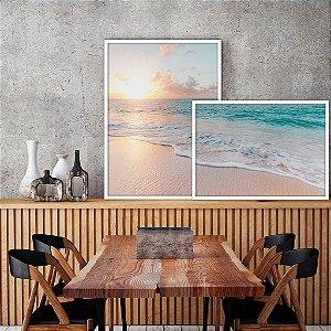 Conjunto com 02 quadros decorativos sobreposição Praia