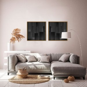 Conjunto com 02 quadros decorativos Abstract Black