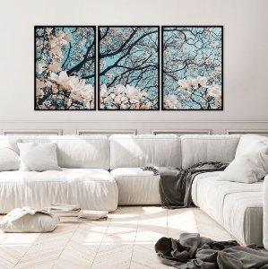 Conjunto com 03 quadros decorativos Árvore da Vida