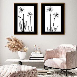 Conjunto com 02 quadros decorativos Flores