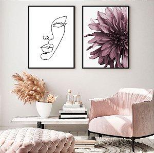 Conjunto com 02 quadros decorativos Femme