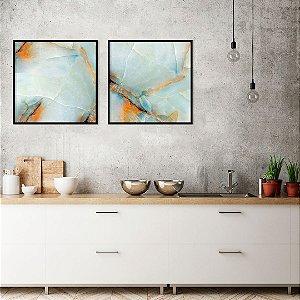 Conjunto com 02 quadros decorativos Pedra Preciosa Duo