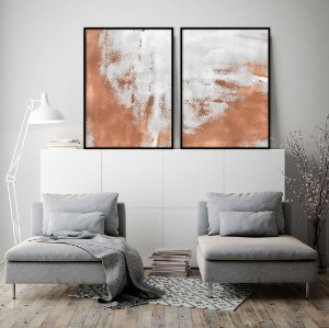Conjunto com 02 quadros decorativos Duo Metalizado