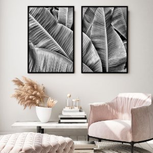 Conjunto com 02 quadros decorativos Folhas Bananeira