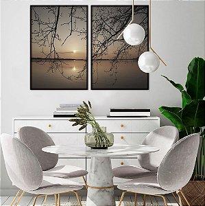 Conjunto com 02 quadros decorativos Pôr do Sol