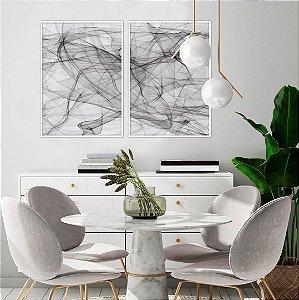 Conjunto com 02 quadros decorativos Movimento Abstrato 50x70cm (LxA) Moldura Preta